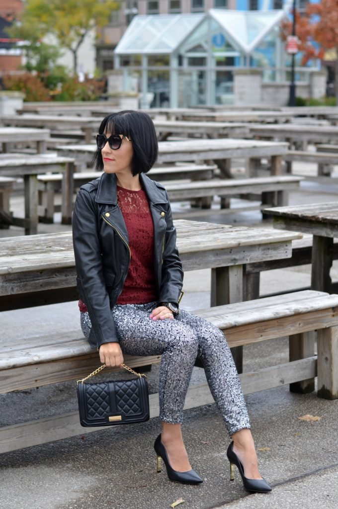 sequin and leather
