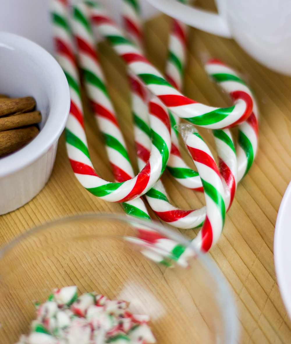 Add candy canes to make your hot chocolate ready for the holidays